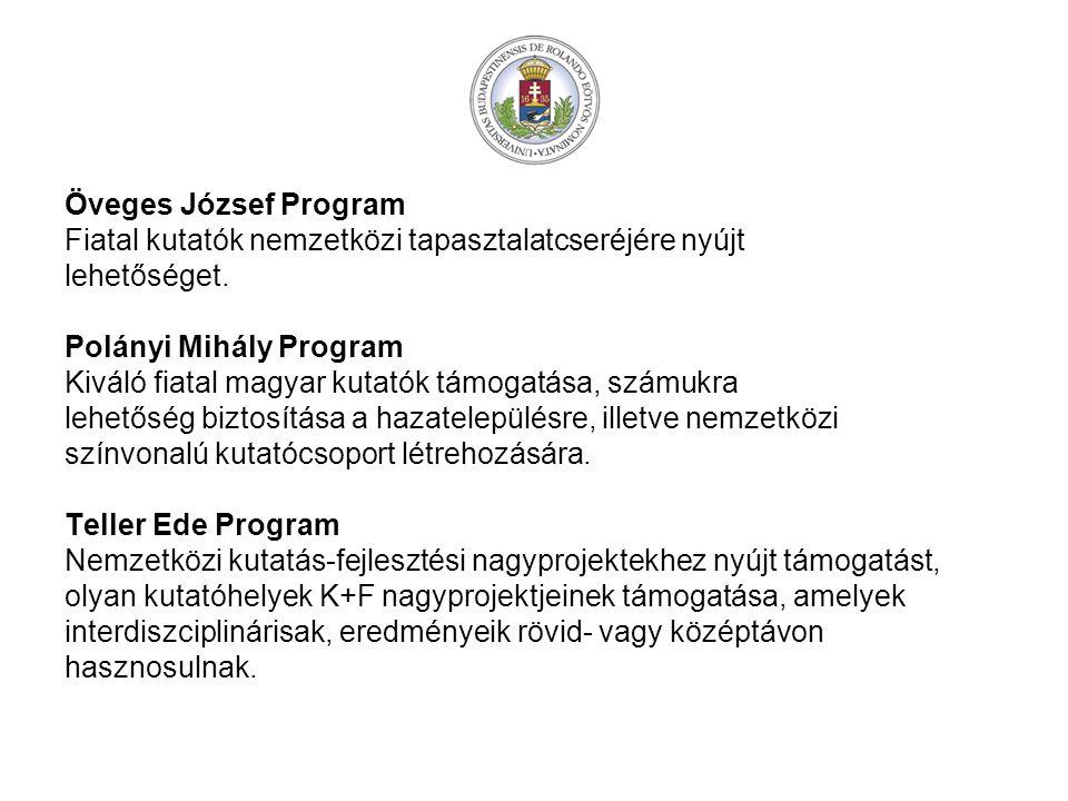 Öveges József Program Fiatal kutatók nemzetközi tapasztalatcseréjére nyújt. lehetőséget. Polányi Mihály Program.