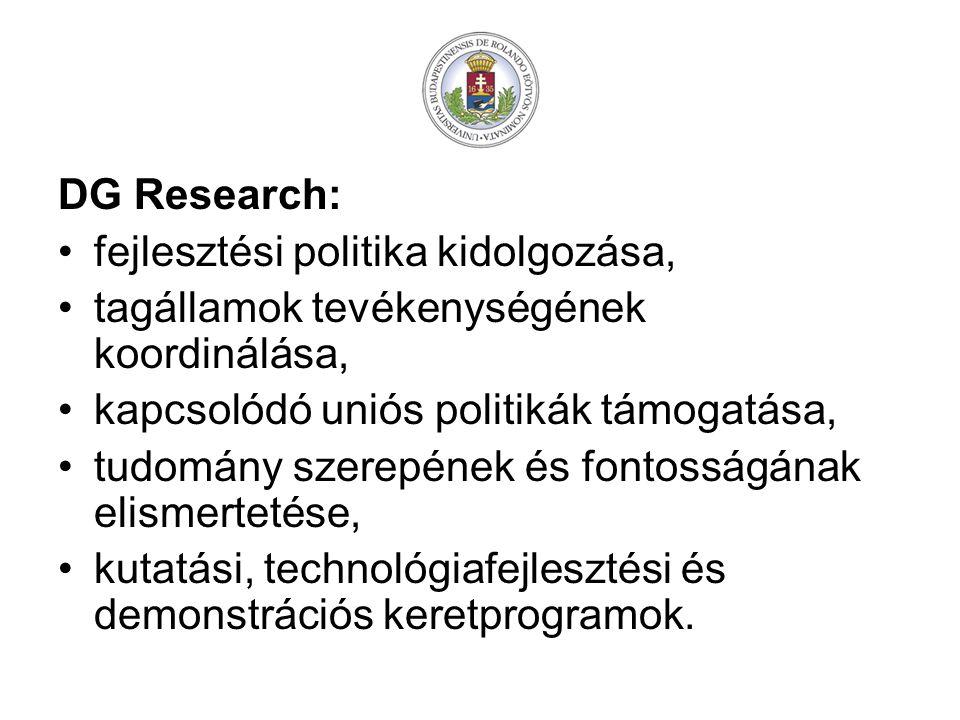 DG Research: fejlesztési politika kidolgozása, tagállamok tevékenységének koordinálása, kapcsolódó uniós politikák támogatása,