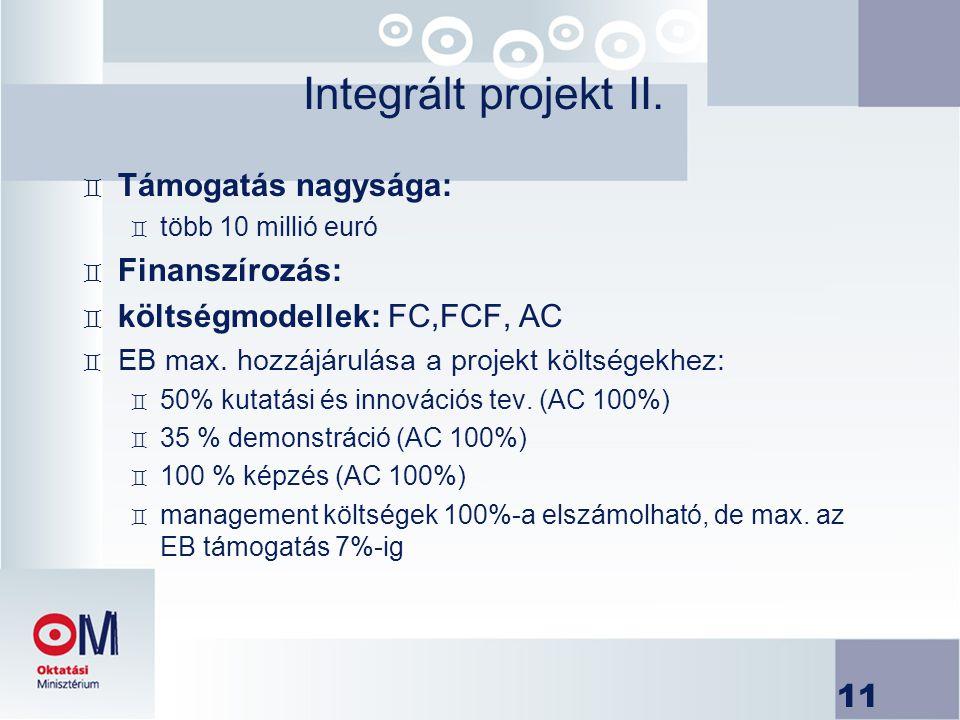 Integrált projekt II. Támogatás nagysága: Finanszírozás: