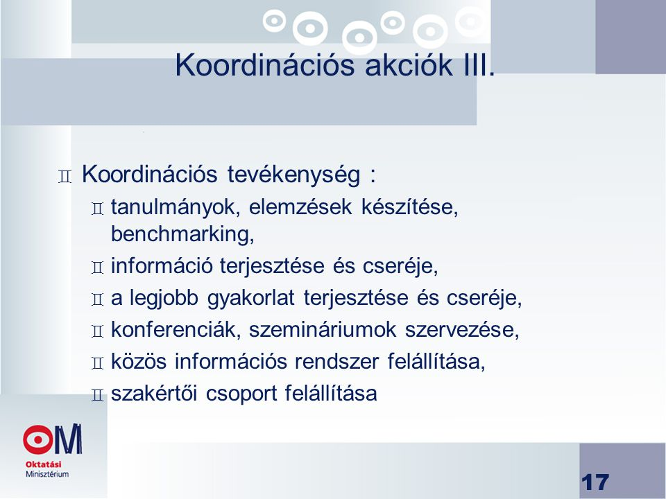 Koordinációs akciók III.