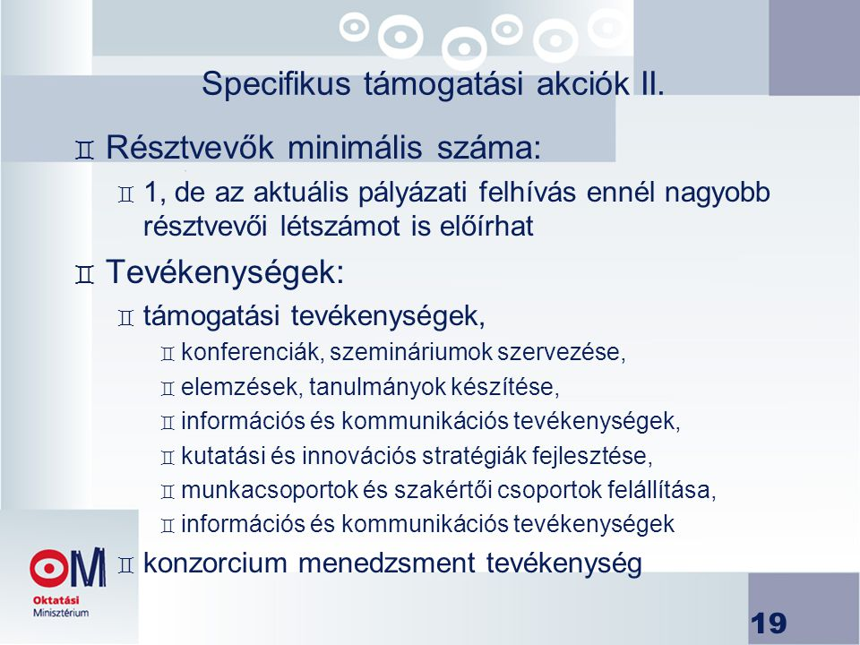 Specifikus támogatási akciók II.