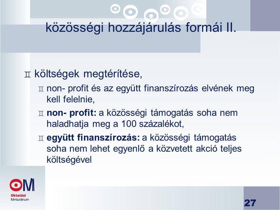 közösségi hozzájárulás formái II.