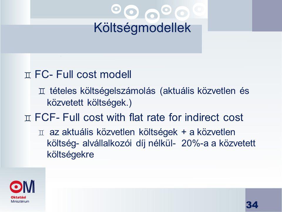 Költségmodellek FC- Full cost modell