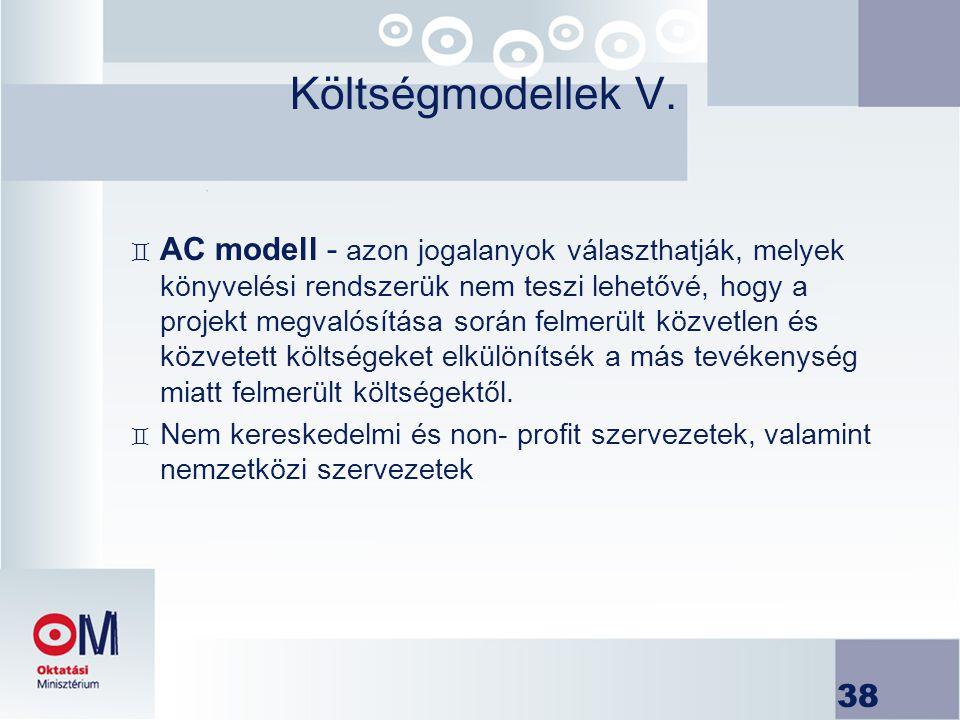 Költségmodellek V.