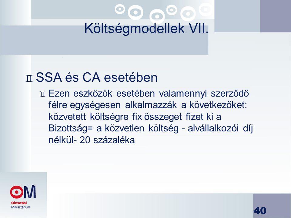 Költségmodellek VII. SSA és CA esetében