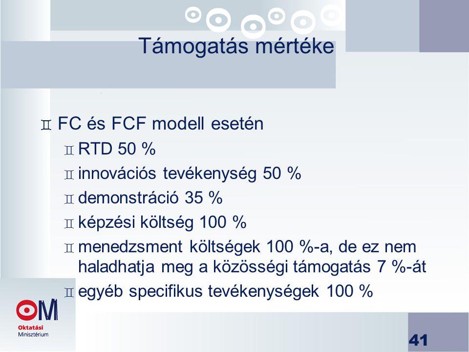 Támogatás mértéke FC és FCF modell esetén RTD 50 %