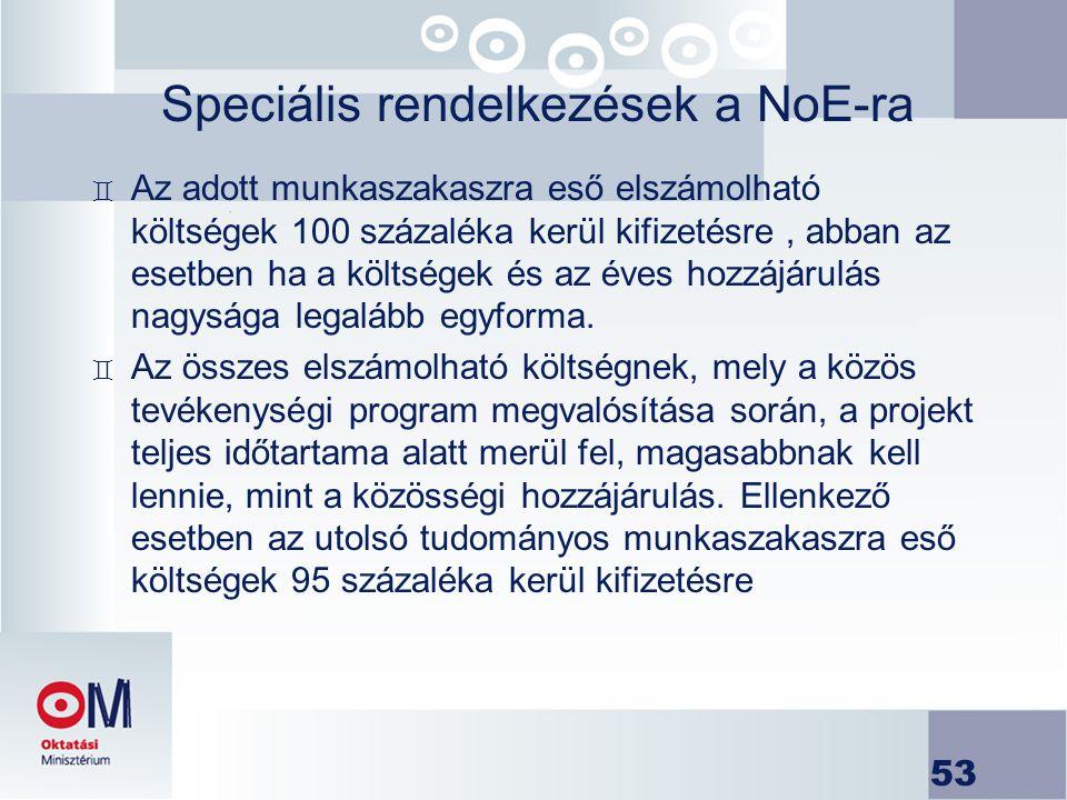 Speciális rendelkezések a NoE-ra