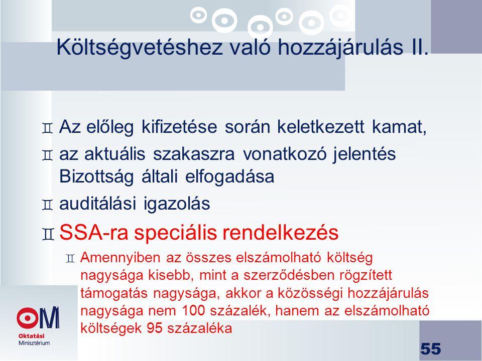 Költségvetéshez való hozzájárulás II.