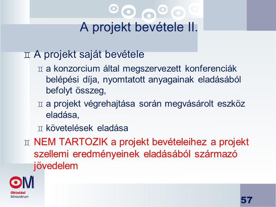 A projekt bevétele II. A projekt saját bevétele
