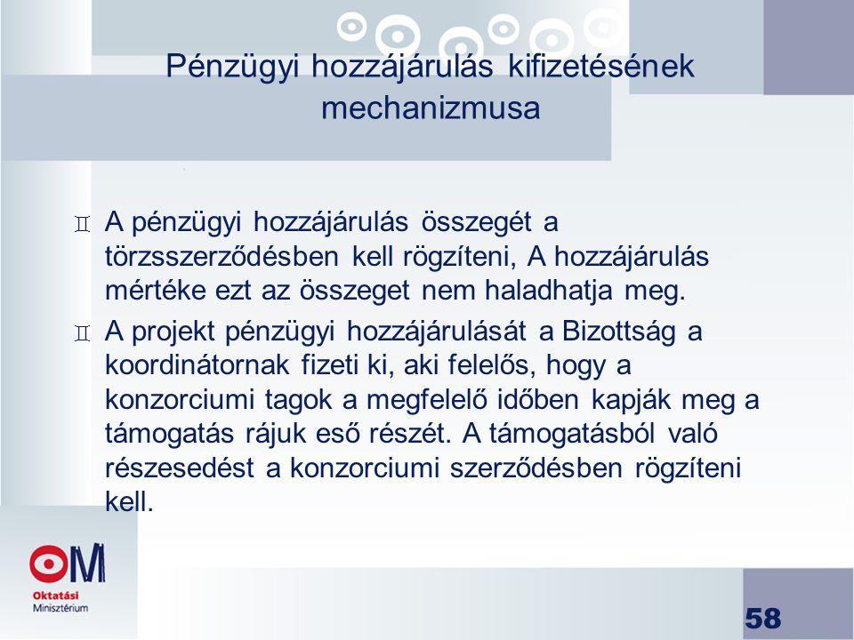Pénzügyi hozzájárulás kifizetésének mechanizmusa