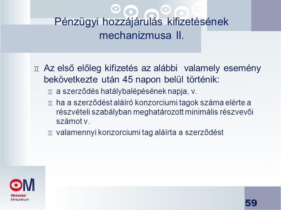 Pénzügyi hozzájárulás kifizetésének mechanizmusa II.