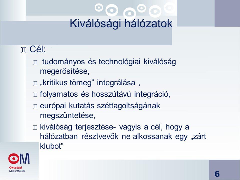 Kiválósági hálózatok Cél: