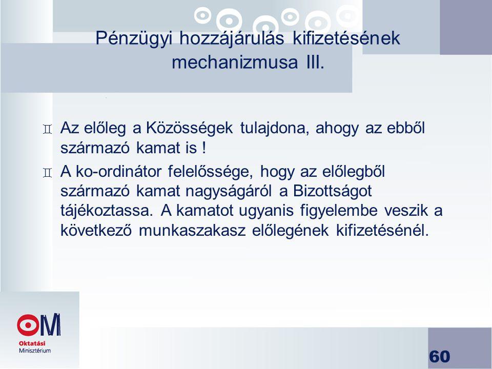 Pénzügyi hozzájárulás kifizetésének mechanizmusa III.