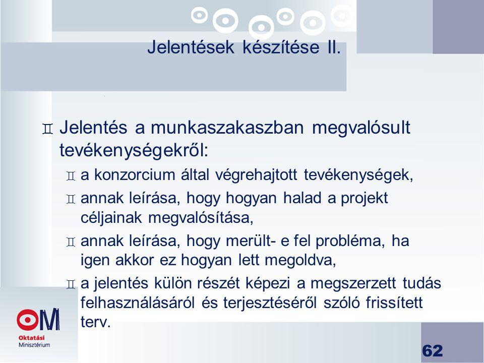 Jelentések készítése II.