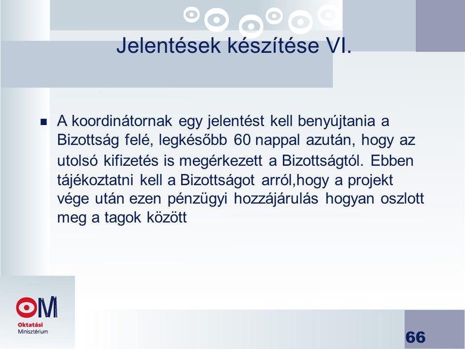 Jelentések készítése VI.