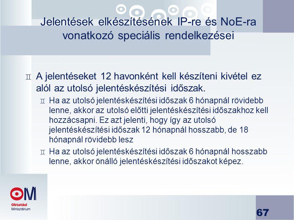 Jelentések elkészítésének IP-re és NoE-ra vonatkozó speciális rendelkezései