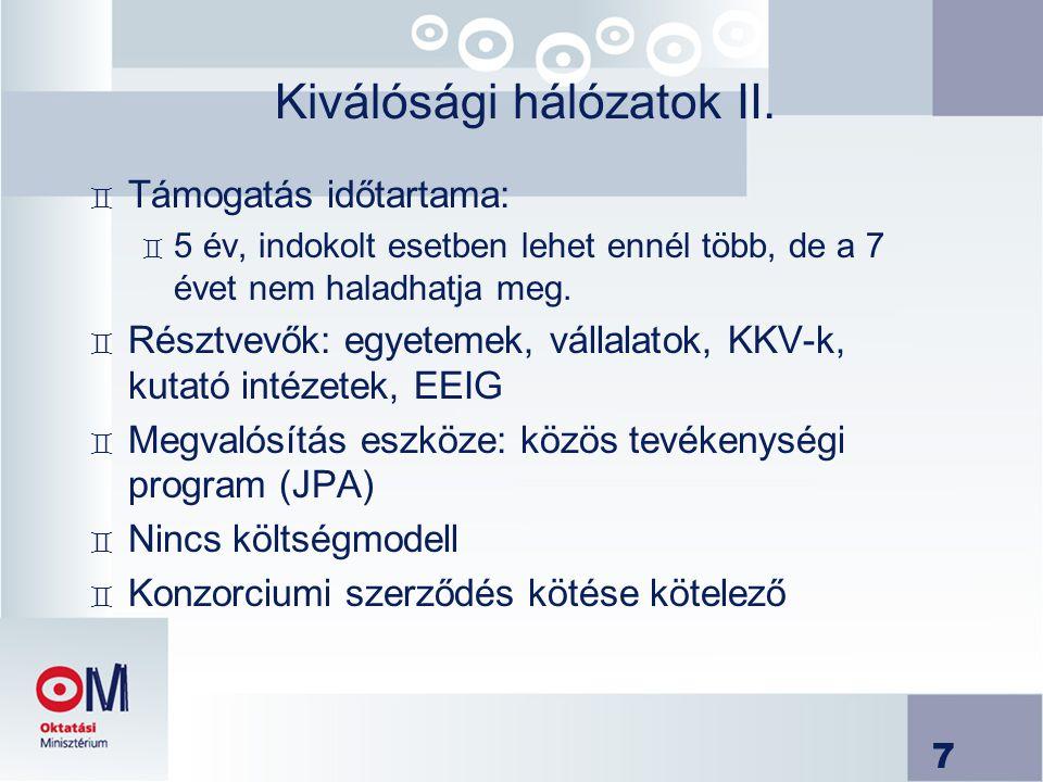 Kiválósági hálózatok II.