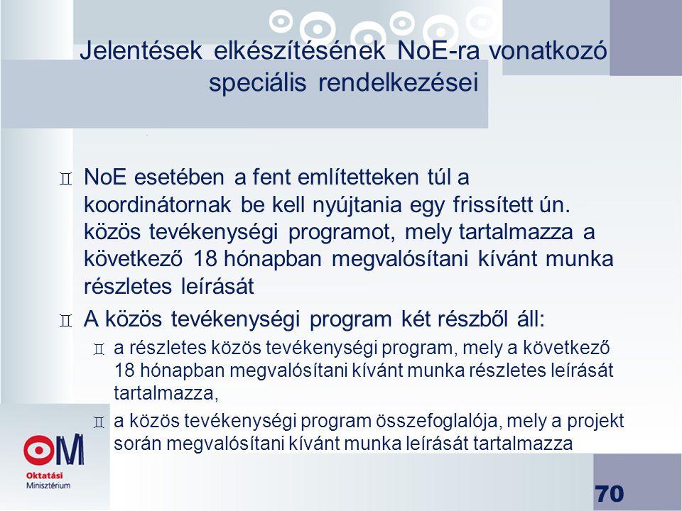 Jelentések elkészítésének NoE-ra vonatkozó speciális rendelkezései