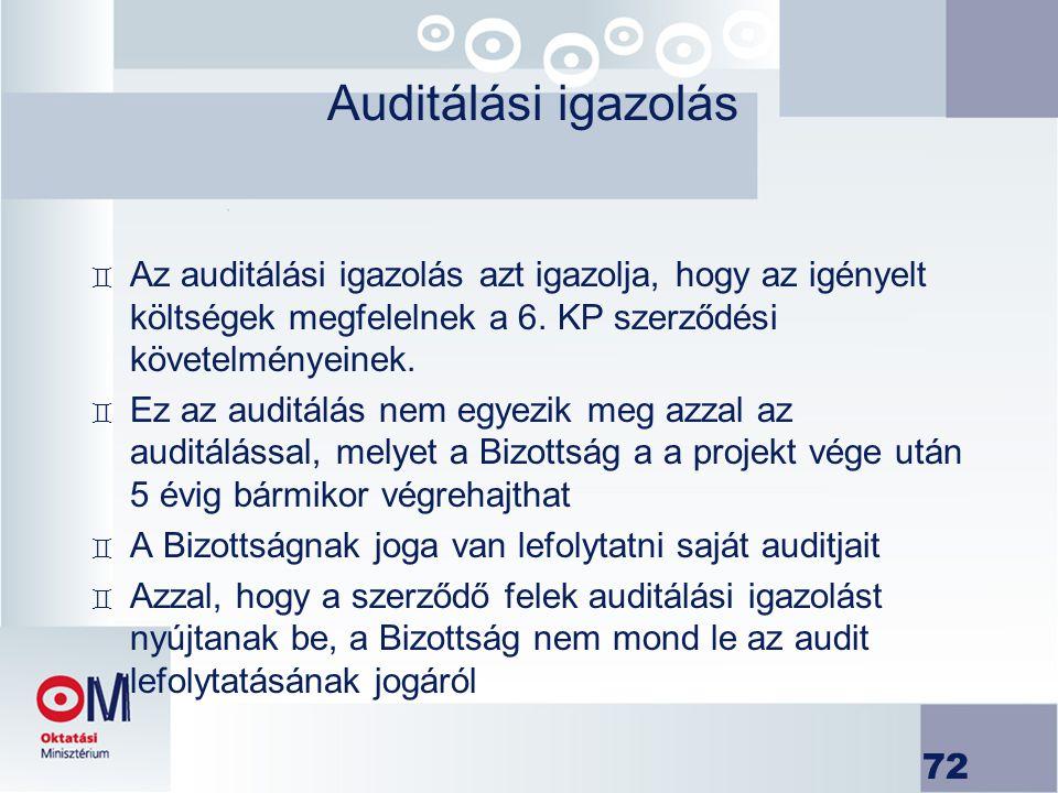 Auditálási igazolás Az auditálási igazolás azt igazolja, hogy az igényelt költségek megfelelnek a 6. KP szerződési követelményeinek.