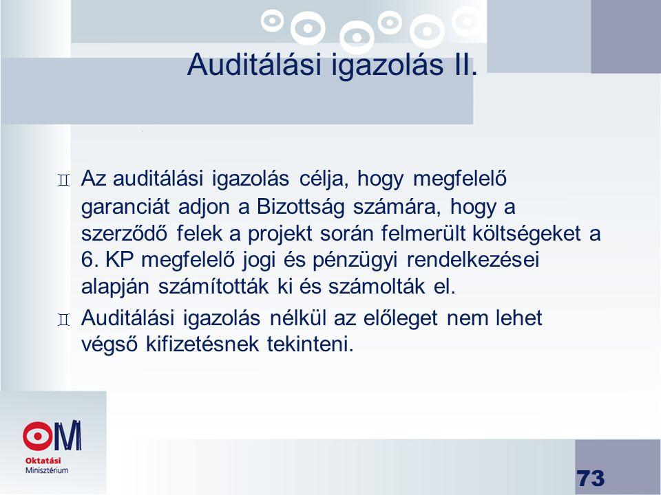 Auditálási igazolás II.