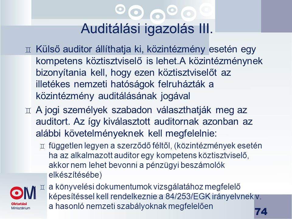 Auditálási igazolás III.
