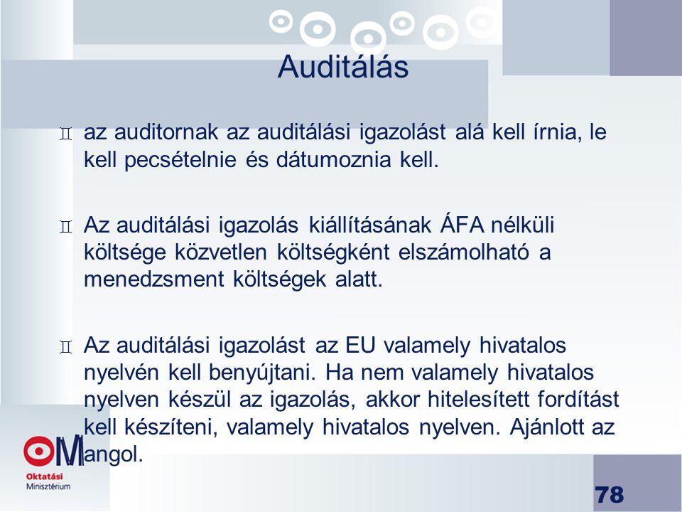 Auditálás az auditornak az auditálási igazolást alá kell írnia, le kell pecsételnie és dátumoznia kell.