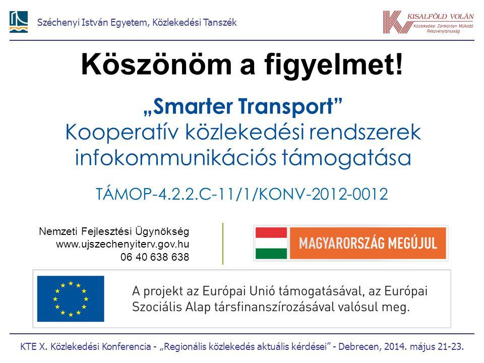 """Köszönöm a figyelmet! """"Smarter Transport Kooperatív közlekedési rendszerek infokommunikációs támogatása."""
