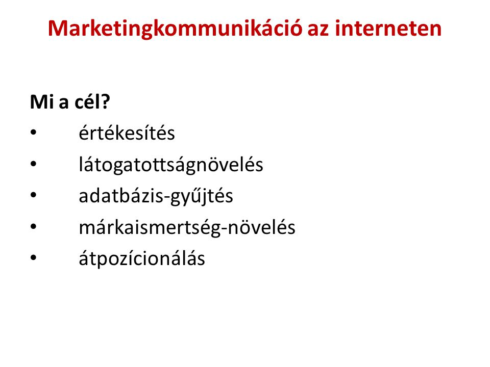 Marketingkommunikáció az interneten