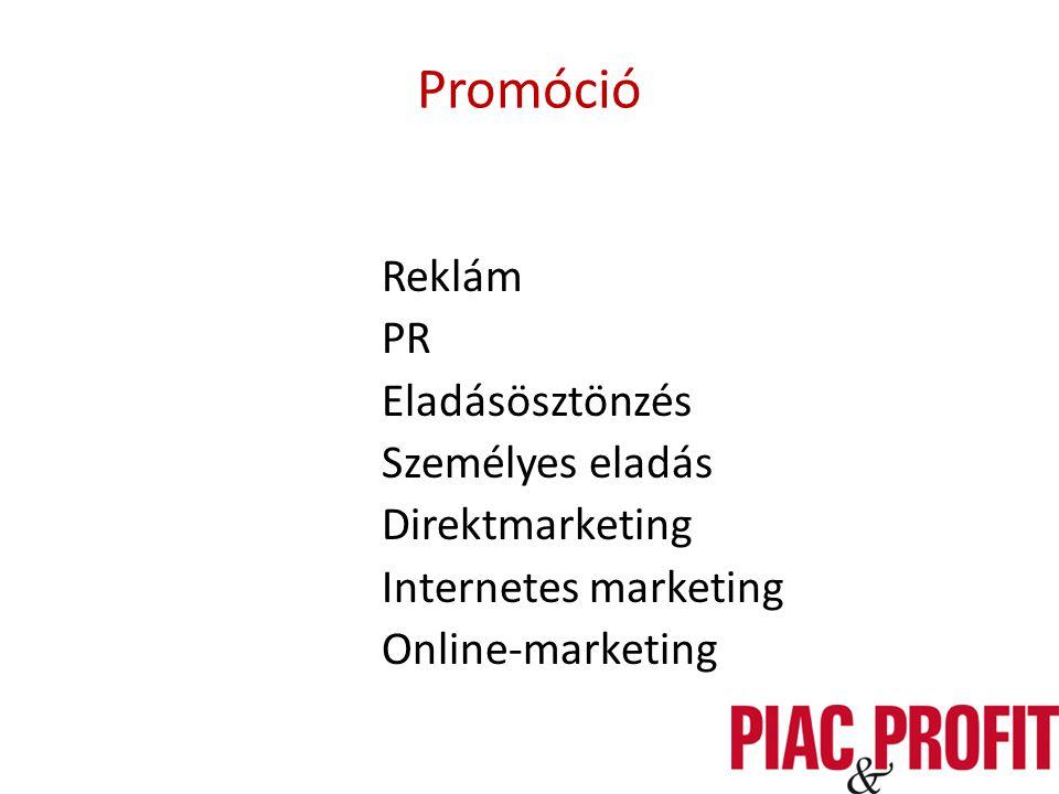 Promóció Reklám PR Eladásösztönzés Személyes eladás Direktmarketing Internetes marketing Online-marketing