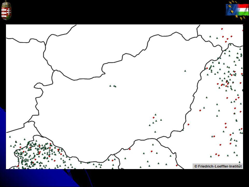 2010-2012 Piros kör: házi állat Zöld háromszög: vadon élő állat (beleértve a denevért is)