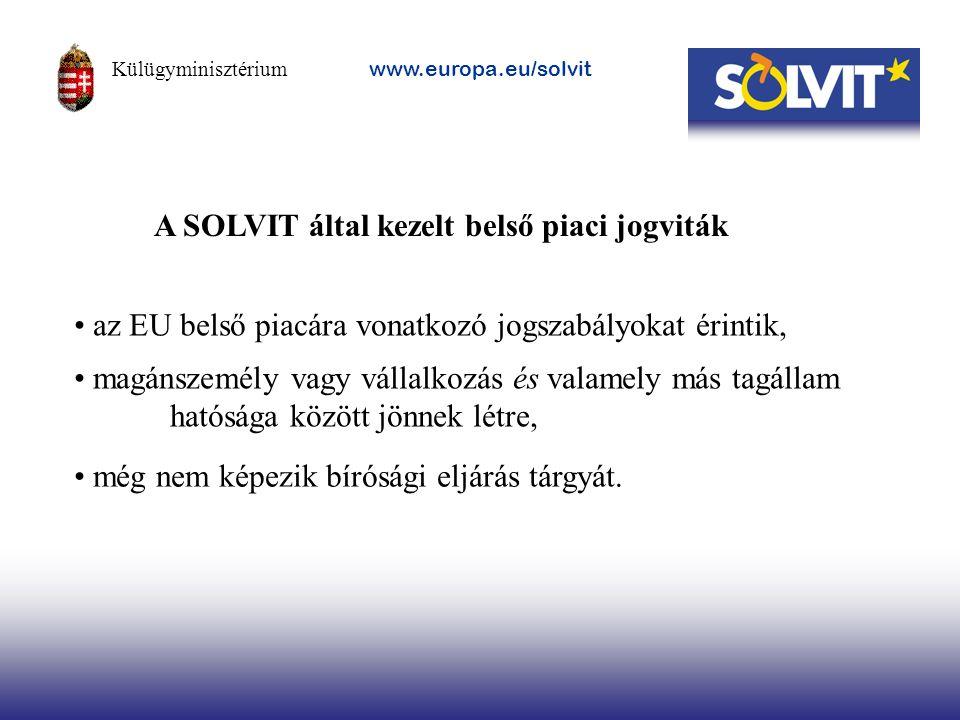 A SOLVIT által kezelt belső piaci jogviták