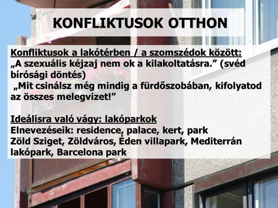 KONFLIKTUSOK OTTHON Konfliktusok a lakótérben / a szomszédok között: