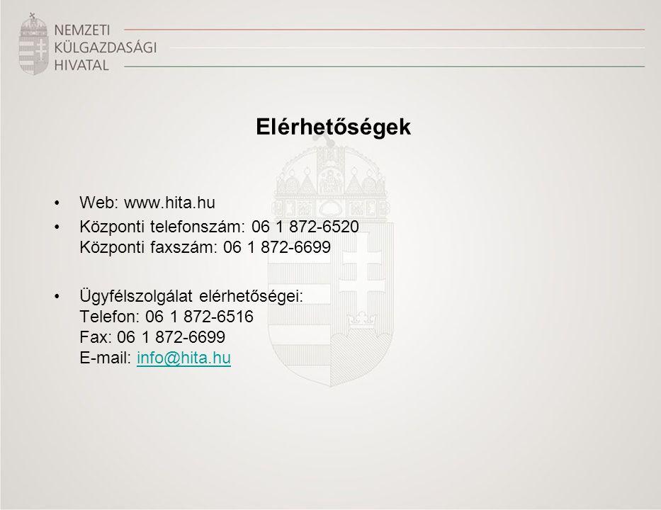 Elérhetőségek Web: www.hita.hu. Központi telefonszám: 06 1 872-6520 Központi faxszám: 06 1 872-6699.