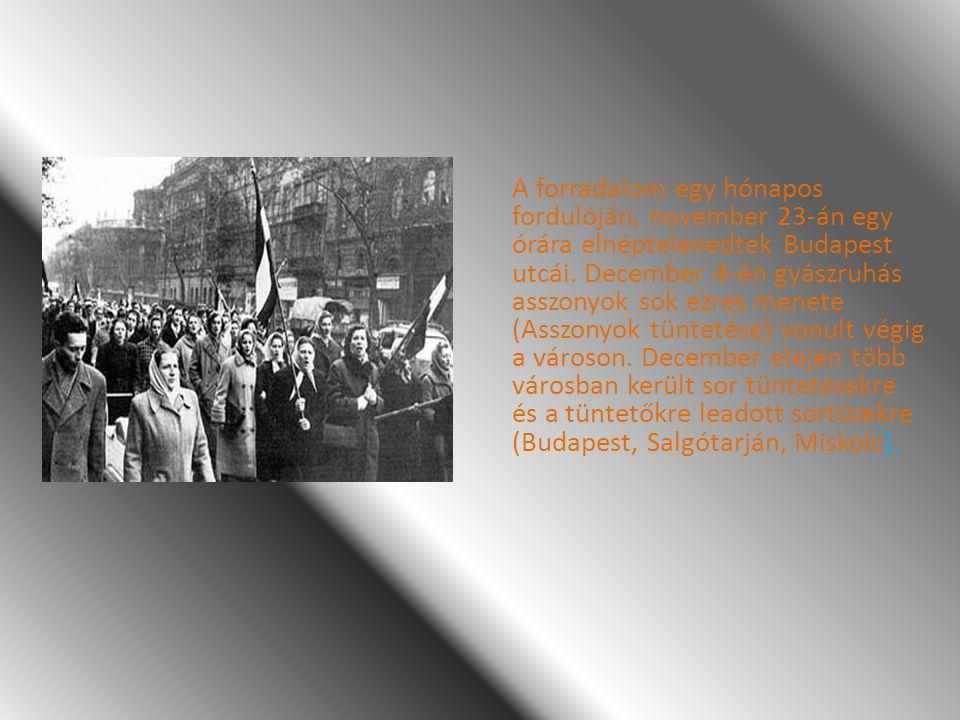 A forradalom egy hónapos fordulóján, november 23-án egy órára elnéptelenedtek Budapest utcái. December 4-én gyászruhás asszonyok sok ezres menete (Asszonyok tüntetése) vonult végig a városon.