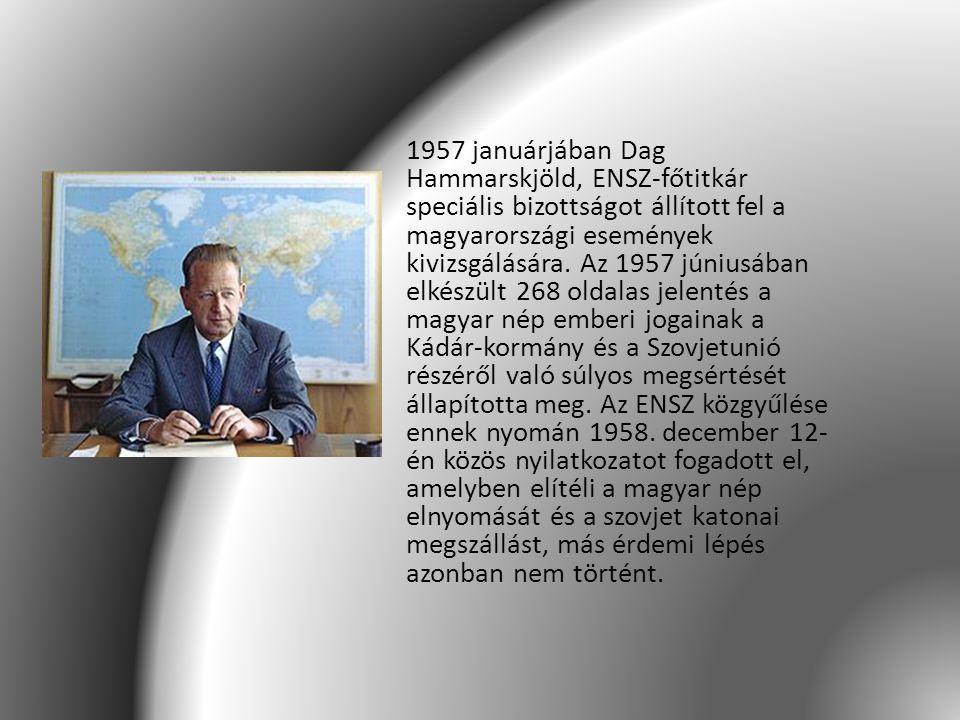1957 januárjában Dag Hammarskjöld, ENSZ-főtitkár speciális bizottságot állított fel a magyarországi események kivizsgálására.