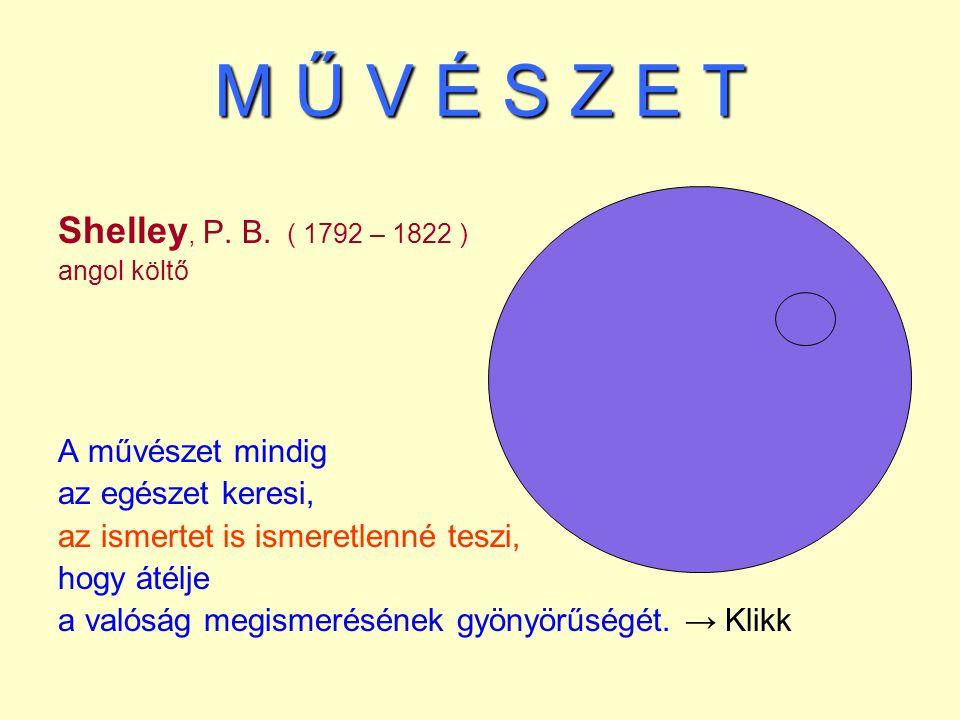 M Ű V É S Z E T Shelley, P. B. ( 1792 – 1822 ) A művészet mindig