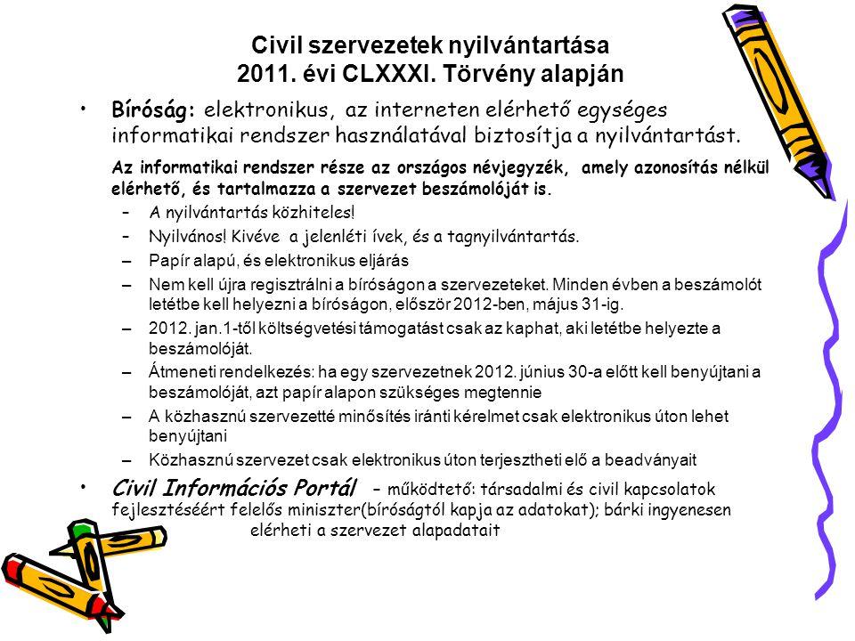 Civil szervezetek nyilvántartása 2011. évi CLXXXI. Törvény alapján