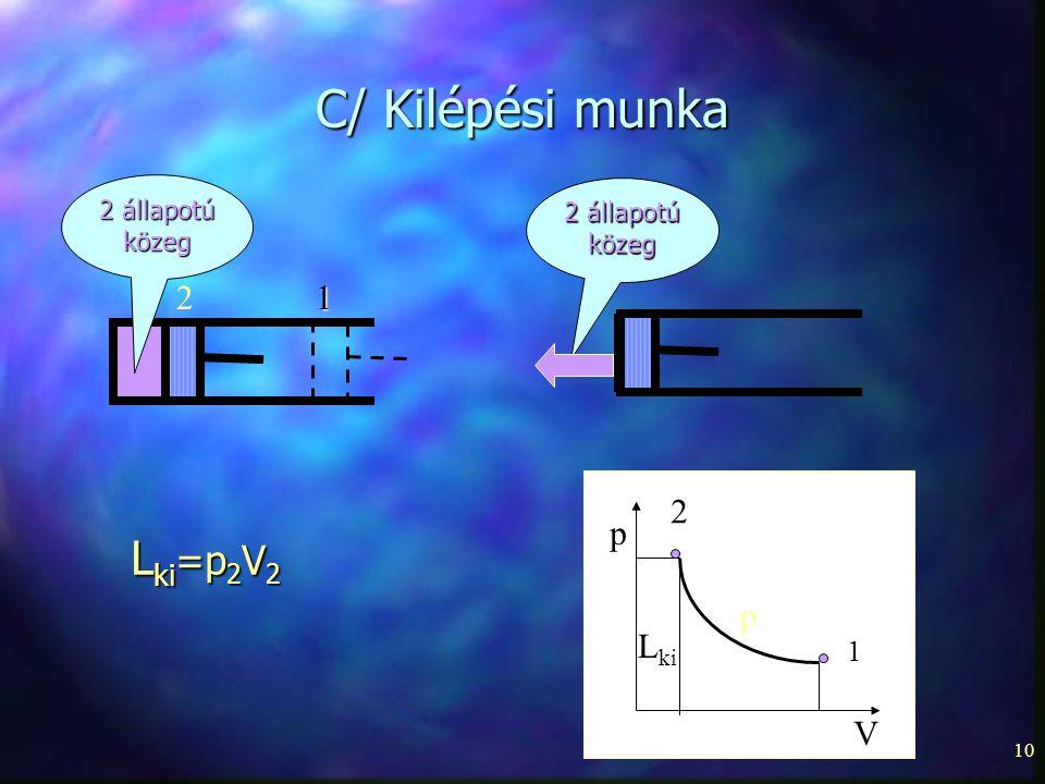 C/ Kilépési munka Lki=p2V2 2 1 p 2 p Lki V 1 2 állapotú 2 állapotú