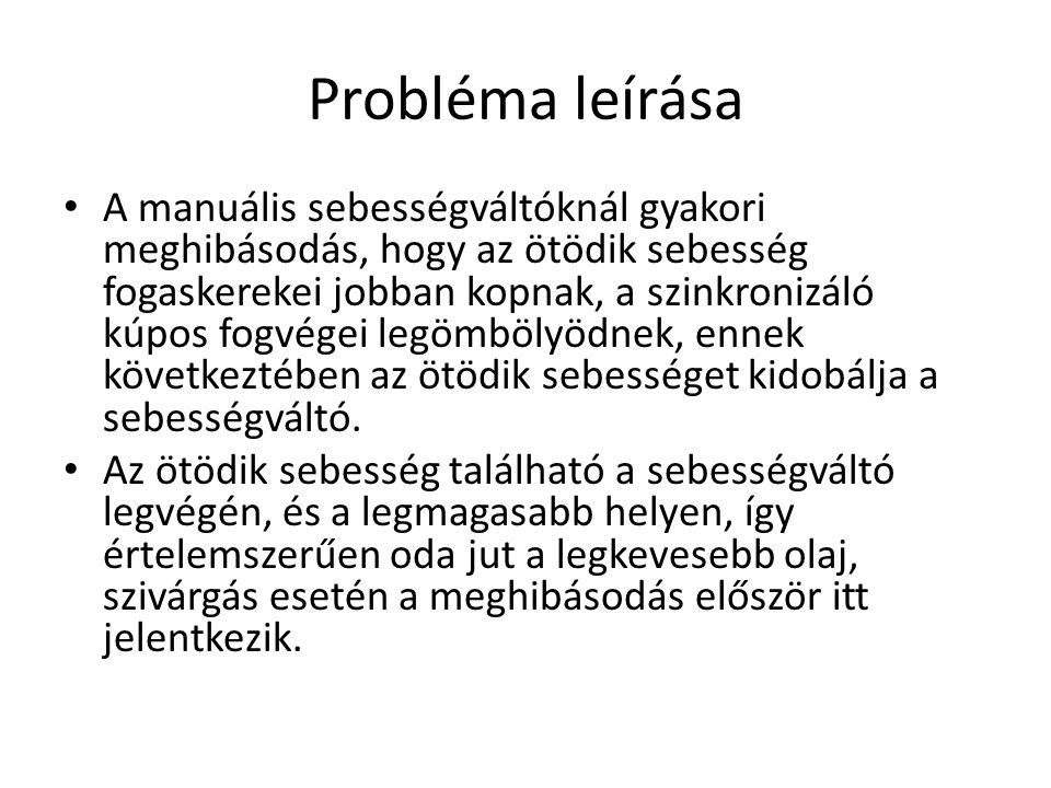 Probléma leírása