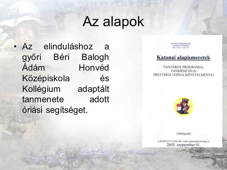 Az alapok Az elinduláshoz a győri Béri Balogh Ádám Honvéd Középiskola és Kollégium adaptált tanmenete adott óriási segítséget.