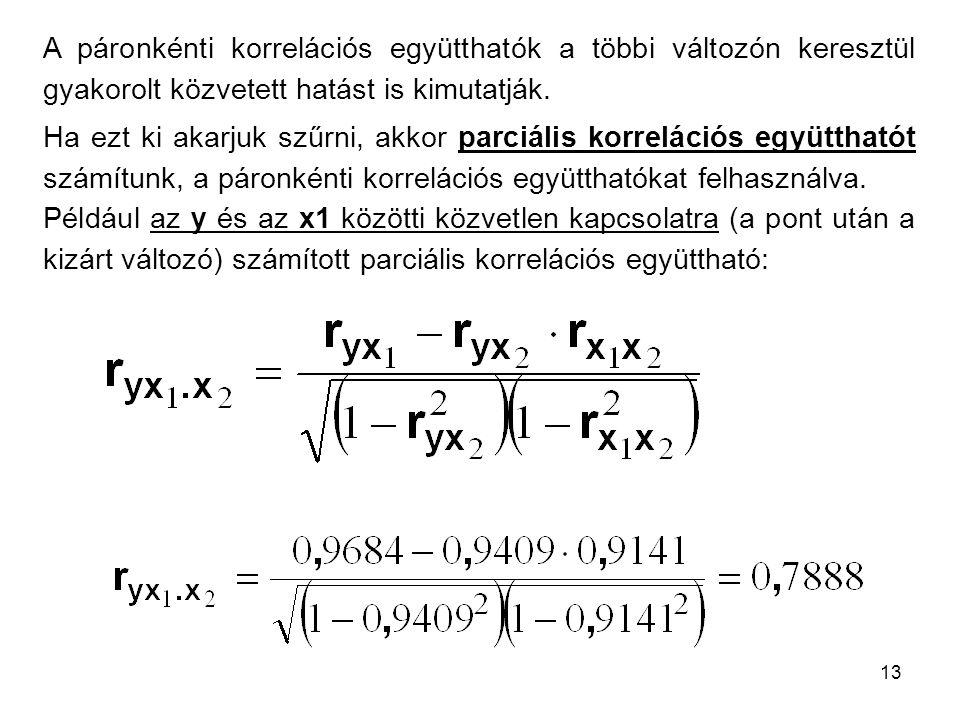 A páronkénti korrelációs együtthatók a többi változón keresztül gyakorolt közvetett hatást is kimutatják.