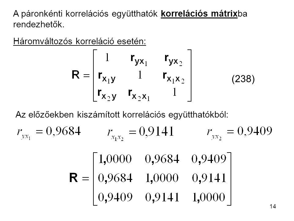 A páronkénti korrelációs együtthatók korrelációs mátrixba rendezhetők.