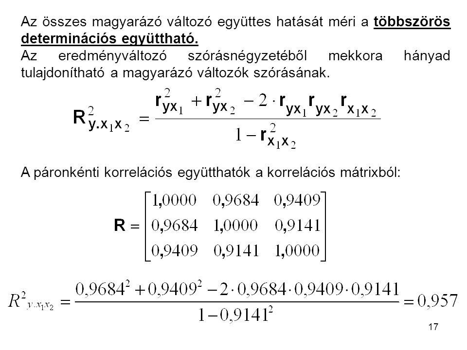 Az összes magyarázó változó együttes hatását méri a többszörös determinációs együttható.