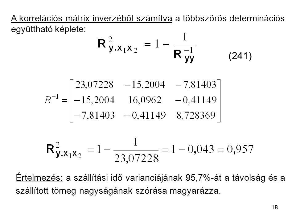 A korrelációs mátrix inverzéből számítva a többszörös determinációs együttható képlete: