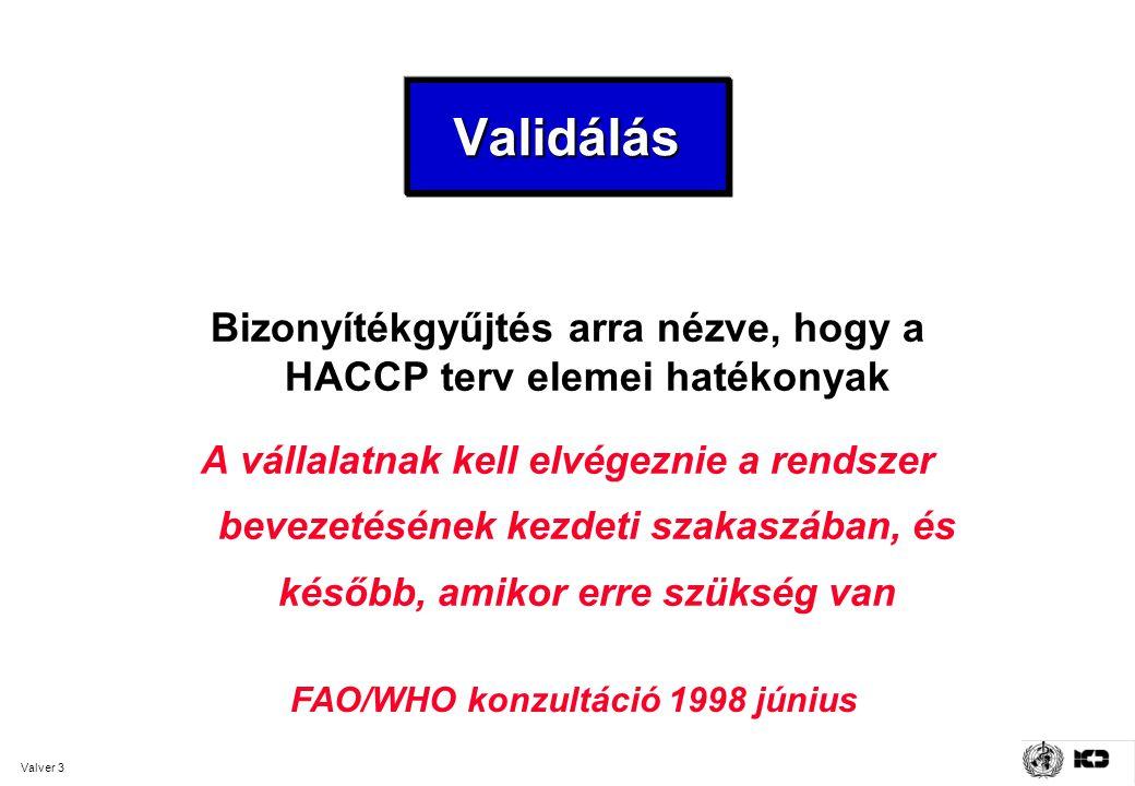 Bizonyítékgyűjtés arra nézve, hogy a HACCP terv elemei hatékonyak