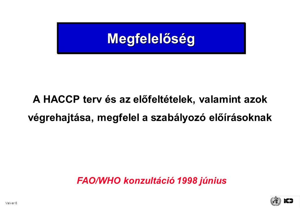 Megfelelőség A HACCP terv és az előfeltételek, valamint azok végrehajtása, megfelel a szabályozó előírásoknak.