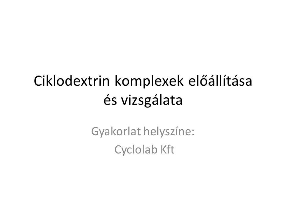 Ciklodextrin komplexek előállítása és vizsgálata