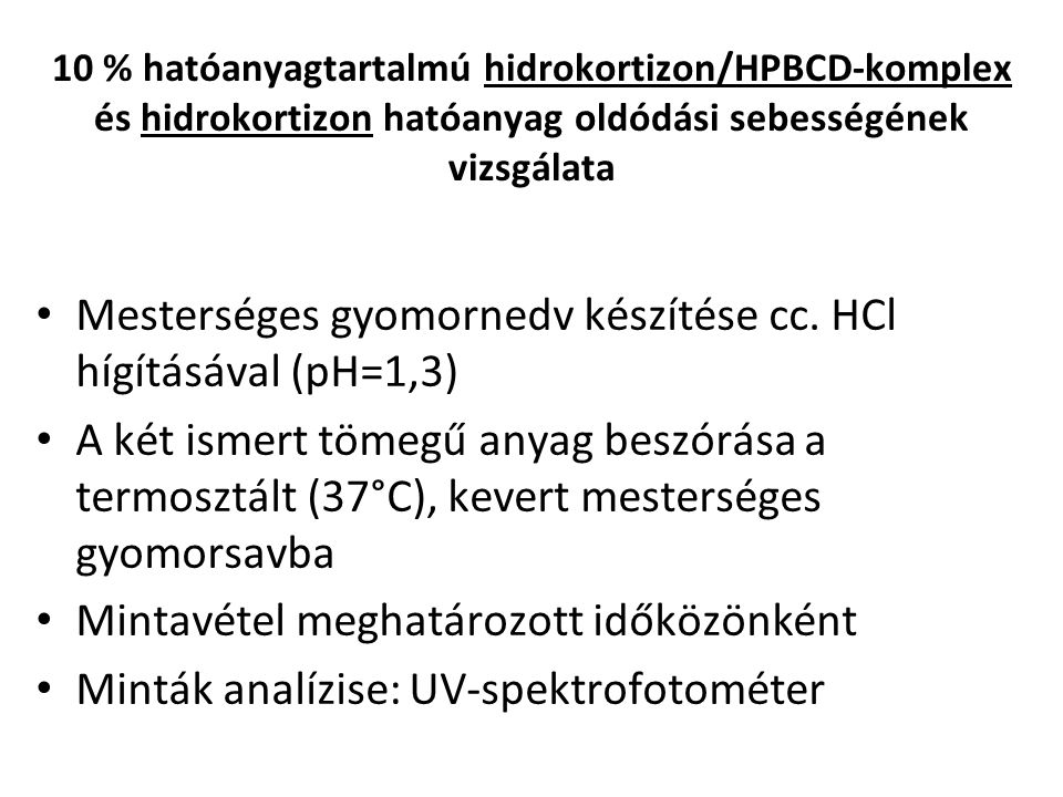 Mesterséges gyomornedv készítése cc. HCl hígításával (pH=1,3)