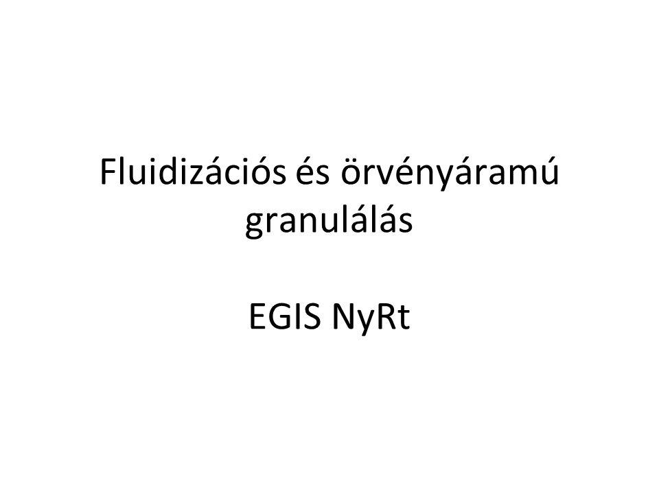 Fluidizációs és örvényáramú granulálás EGIS NyRt