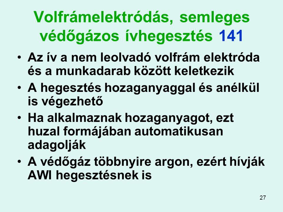 Volfrámelektródás, semleges védőgázos ívhegesztés 141